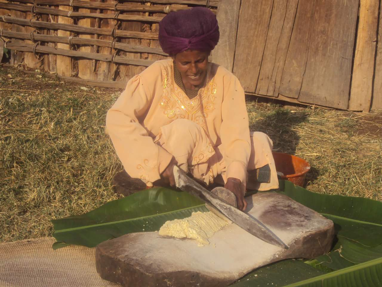 A woman processes the remainder of the enset plant.